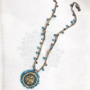 Turquoise enamel necklace